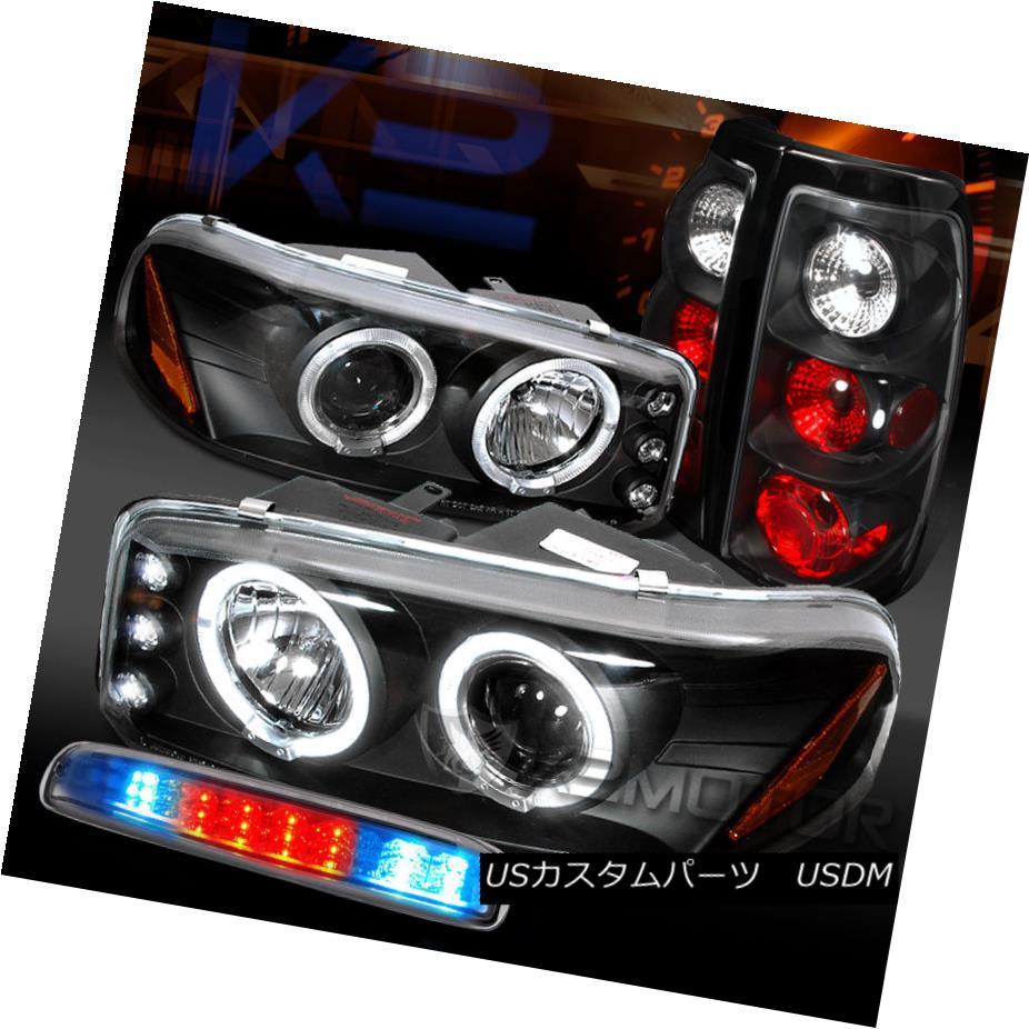 テールライト 99-03 GMC Sierra Black Projector Headlights+Tail Lamps+Clear LED 3rd Brake 99-03 GMC Sierraブラックプロジェクターヘッドライト+タイ lランプ+クリアLED第3ブレーキ