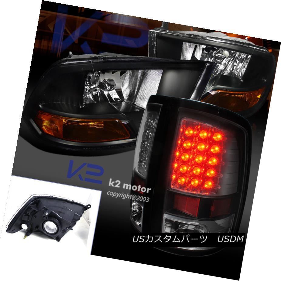 テールライト 2009-2017 Ram Euro Black Headlights W/Turn Signal Lights+Led Tail Brake Lamps 2009-2017ラムユーロブラックヘッドライトW /ターンシグナルライト+ Ledテールブレーキランプ