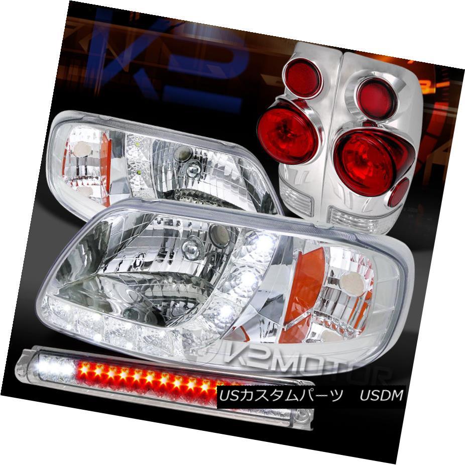 テールライト 97-03 Ford F150 Chrome SMD DRL Headlights+3D Tail Lamps+LED 3rd Brake 97-03フォードF150クロムSMD DRLヘッドライト+ 3Dテールランプ+ LED第3ブレーキ