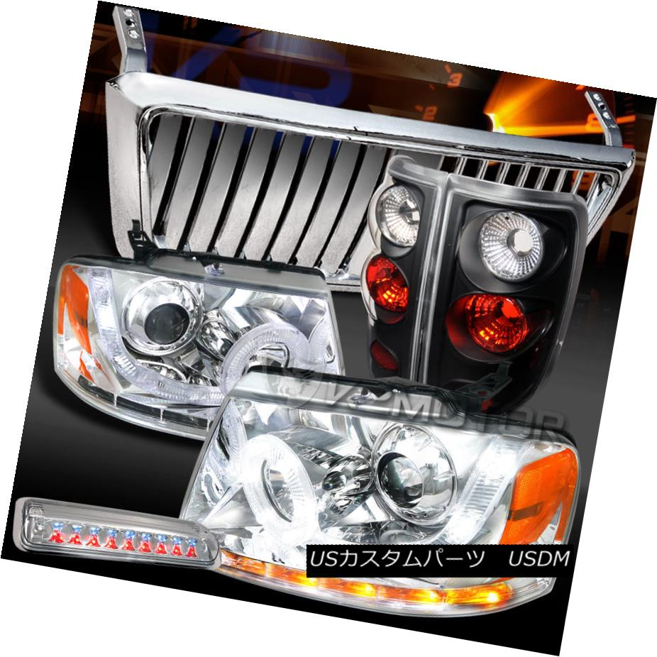 テールライト 04-08 F150 Chrome SMD DRL Headlights+Front Grille+LED 3rd Brake+Black Tail Lamps 04-08 F150クロームSMD DRLヘッドライト+ ntグリル+ LED第3ブレーキ+ブラックテールランプ