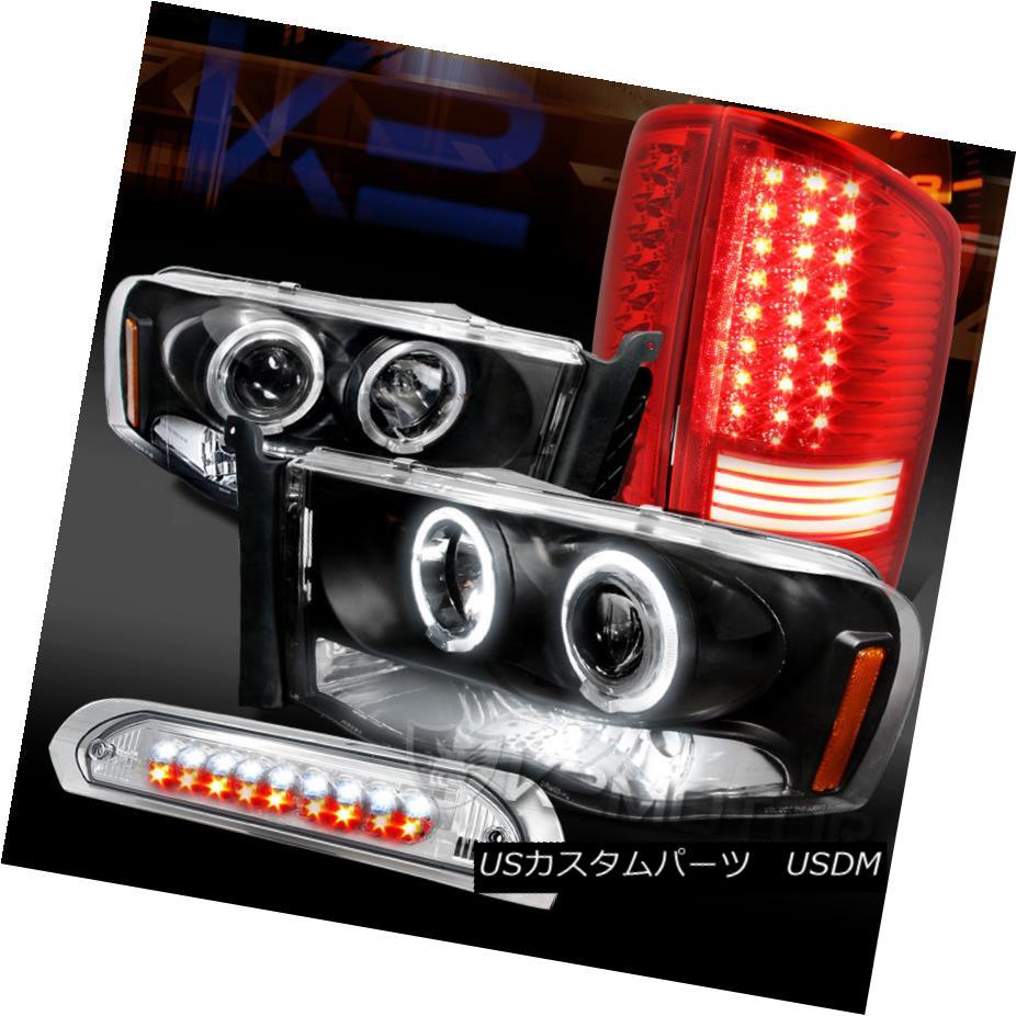 テールライト 02-05 Ram Black Halo Projector Headlights+Red/Clear LED Tail 3rd Brake Lights 02-05ラムブラックハロープロジェクターヘッドライト+レッド /クリアLEDテール第3ブレーキライト
