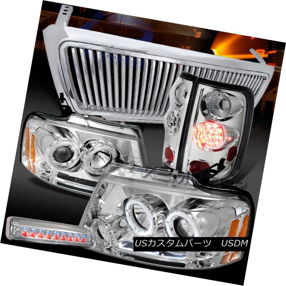 テールライト 04-08 F150 Chrome Halo DRL Headlights+Vertical Grille+LED Tail 3rd Brake Lamps 04-08 F150クロームハローDRLヘッドライト+ Ver tical Grille + LEDテール3rdブレーキランプ