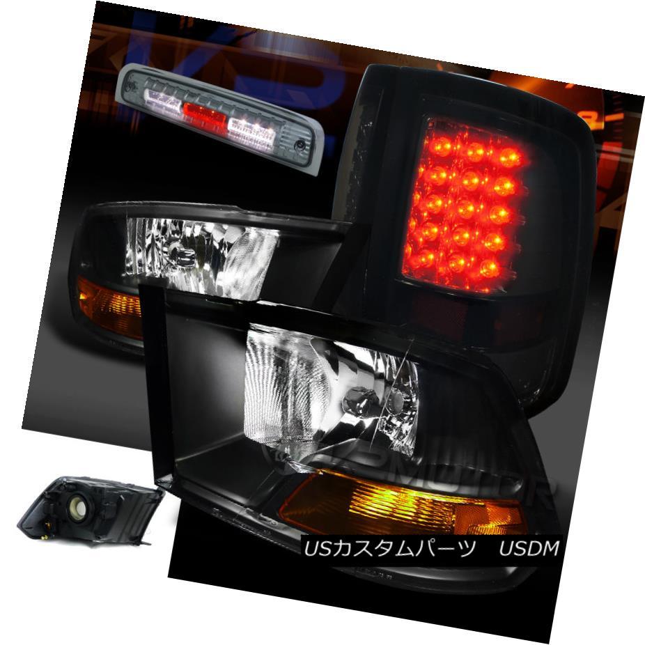 テールライト 09-13 Ram 1500 Headlights+Glossy Black LED Tail Lamps+Smoke 3rd Brake Light 09-13ラム1500ヘッドライト+グロー ssyブラックLEDテールランプ+スモーク第3ブレーキライト