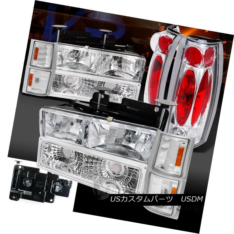 テールライト 94-98 Chevy C/K C10 Silverado Chrome Headlight Bumper Corner Lamps+Tail Lights 94-98シボレーC / K C10 Silveradoクロームヘッドライトバンパーコーナーランプ+テールライト