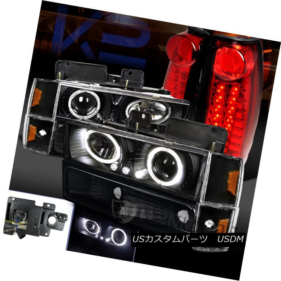 テールライト 88-93 C/K 1500 Black Halo Projector Headlight+Bumper Corner+Red LED Tail Lamp 88-93 C / K 1500ブラックハロープロジェクターヘッドライト+バンプ erコーナー+レッドLEDテールランプ