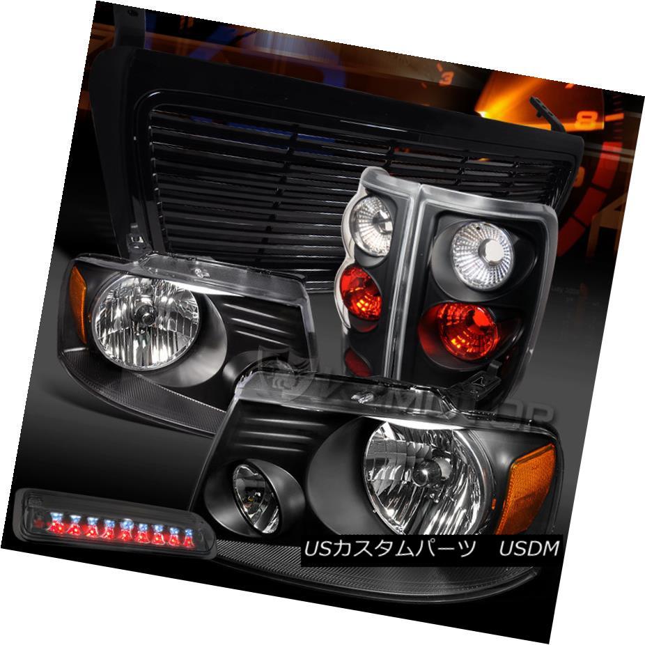 テールライト 04-08 F150 Black Headlights+Tail Lamps+Smoke LED 3rd Brake+Billet Grille 04-08 F150ブラックヘッドライト+タイ lランプ+スモークLED第3ブレーキ+ビレットグリル