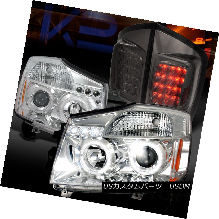 テールライト For 05-07 Armada Chrome Halo LED Projector Headlights+Smoke LED Tail Lamps 05-07アルマダクロームハローLEDプロジェクターヘッドライト+スモーク ke LEDテールランプ