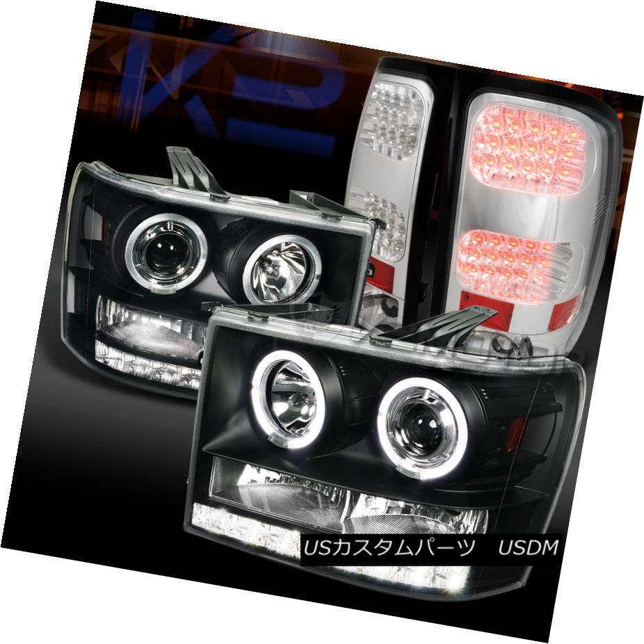 テールライト 07-14 GMC Sierra Black Dual Halo Projector Headlights+Chrome LED Tail Lamps 07-14 GMC Sierra Blackデュアルハロープロジェクターヘッドライト+ Chr ome LEDテールランプ
