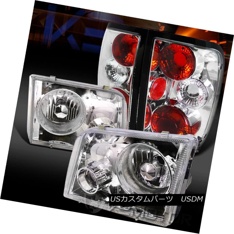 テールライト 93-97 Ford Ranger Chrome Projector Headlights+Clear Tail Brake Lamps 93-97 Ford Rangerクロームプロジェクターヘッドライト+ Cle arテールブレーキランプ
