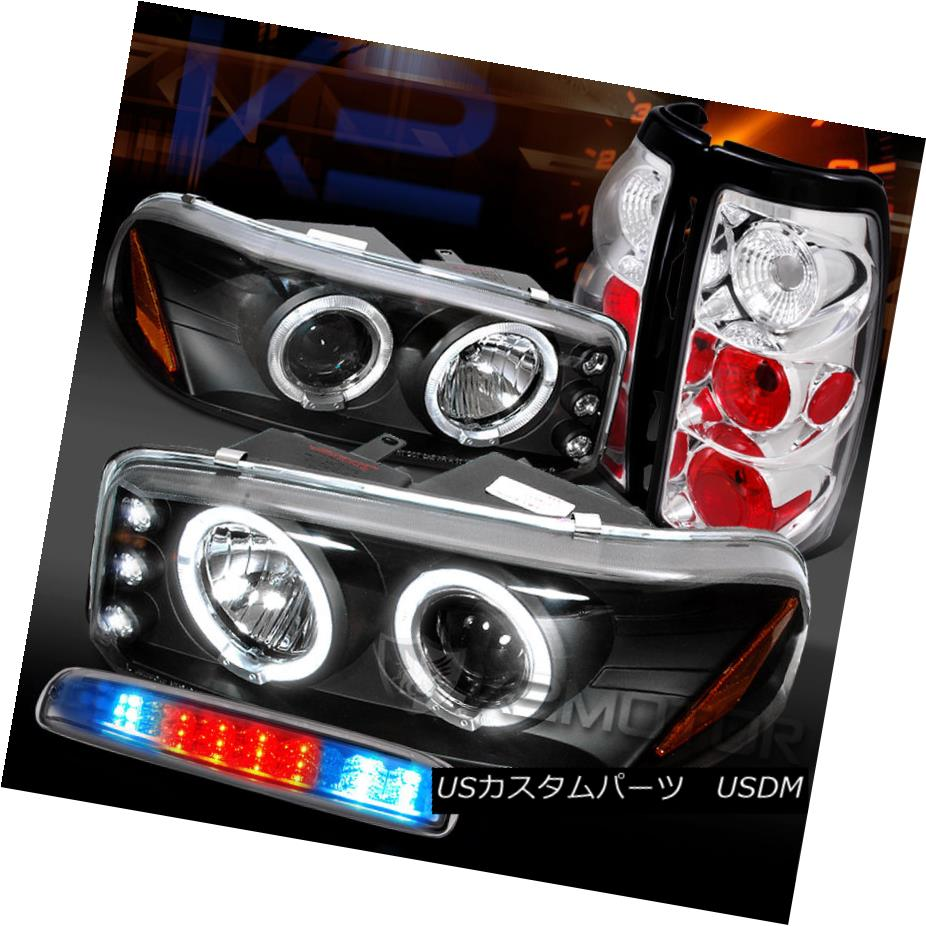 テールライト 99-03 GMC Sierra Black Projector Headlights+Chrome Tail LED 3rd Brake Lamps 99-03 GMC Sierra Blackプロジェクターヘッドライト+ Chr omeテールLED第3ブレーキランプ