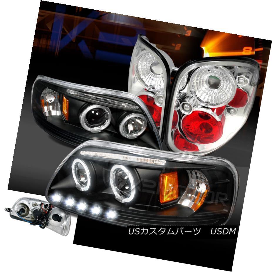 テールライト 97-00 F150 Flareside Black Halo LED Projector Headlights+Clear Rear Tail Lamps 97-00 F150 Flareside Black Halo LEDプロジェクターヘッドライト+ Cle arリアテールランプ