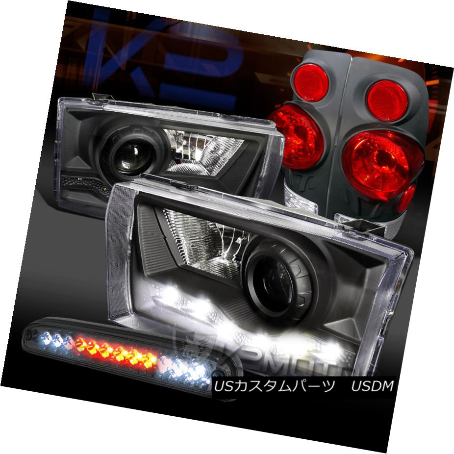テールライト 99-04 F250 SuperDuty Black SMD DRL Projector Headlight+Tail LED 3rd Brake Lamp 99-04 F250 SuperDutyブラックSMD DRLプロジェクターヘッドライト+テールLED第3ブレーキランプ