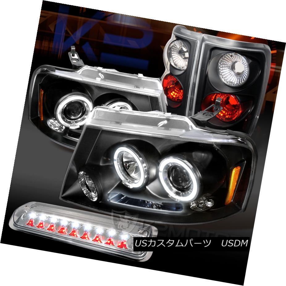 テールライト 04-08 Ford F150 Styleside Black Projector Headlights+Tail+Clear 3rd brake Light 04-08 Ford F150 Stylesideブラックプロジェクターヘッドライト+タイ l +クリア第3ブレーキライト