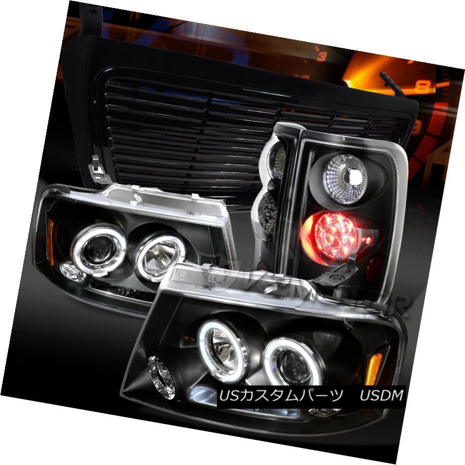 テールライト 04-08 F150 Black Dual Halo Projector Headlights+LED Tail Lamps+Hood Grille 04-08 F150ブラックデュアルハロープロジェクターヘッドライト+ LEDテールランプ+フードグリル