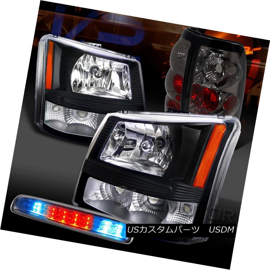 テールライト 03-06 Silverado 1500 Black Headlights+Smoke Tail Lamps+Clear LED 3rd Brake 03-06 Silverado 1500ブラックヘッドライト+スモーキー keテールランプ+クリアLED第3ブレーキ