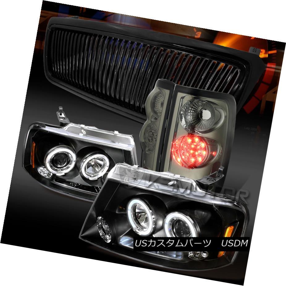 テールライト 04-08 F150 Black Halo LED Projector Headlights+Grille+Smoke LED Tail Lamps 04-08 F150ブラックハローLEDプロジェクターヘッドライト+グリル lle +スモークLEDテールランプ