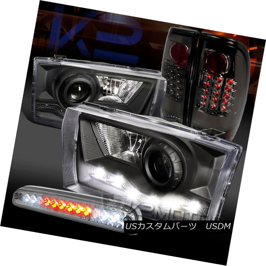 テールライト 99-04 F250 SuperDuty SMD DRL Projector Headlights+Smoke LED Tail 3rd Brake Lamps 99-04 F250 SuperDuty SMD DRLプロジェクターヘッドライト+スモーキー ke LEDテール第3ブレーキランプ