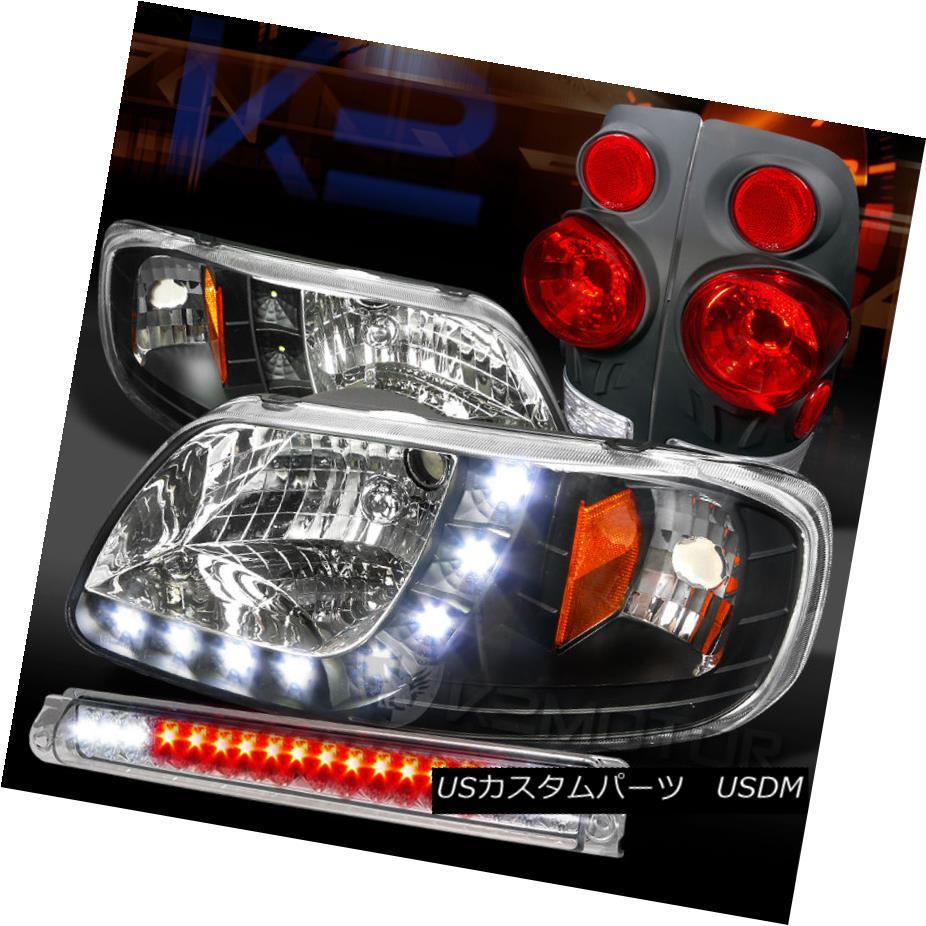 テールライト 97-03 F150 Black SMD DRL Headlights+3D Tail Lamps+Clear LED 3rd Brake 97-03 F150ブラックSMD DRLヘッドライト+ 3Dテールランプ+クリアLED第3ブレーキ