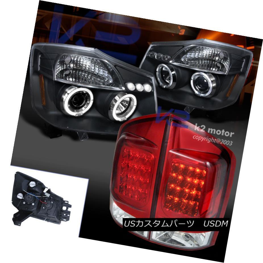 テールライト For 05-07 Armada Black Halo LED Projector Headlights+Red Tail Brake Lamps 05-07 Armada Black Halo LEDプロジェクターヘッドライト+レッドテールブレーキランプ
