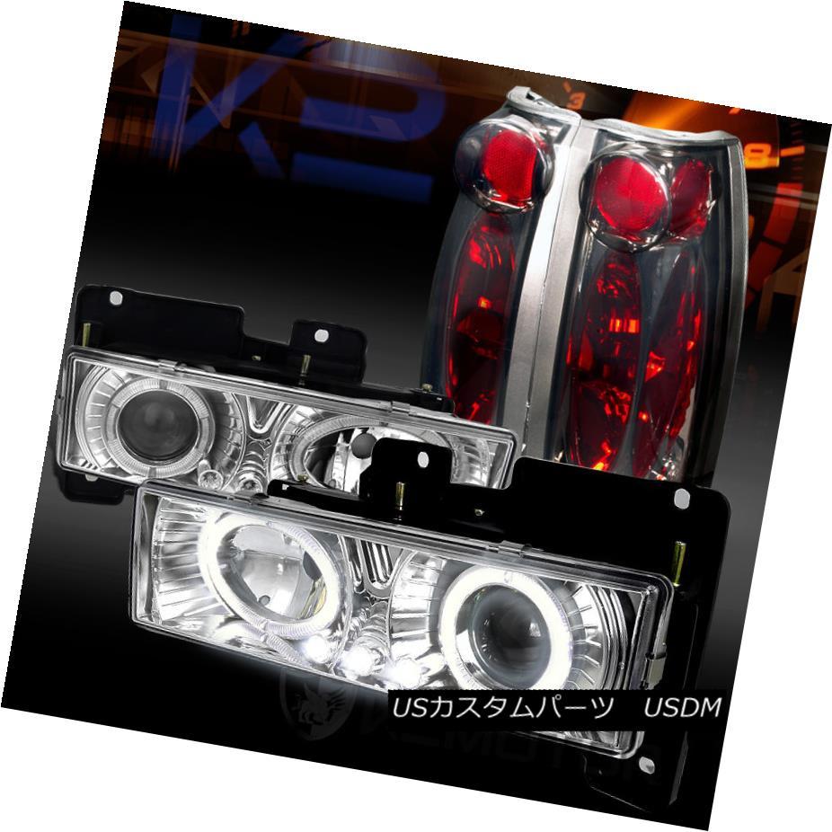 テールライト 88-98 Chevy C/K Pickup Chrome Halo LED Projector Headlights+Smoke Tail Lamps 88-98 Chevy C / KピックアップクロームハローLEDプロジェクターヘッドライト+スモーキー keテールランプ