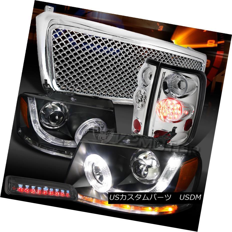 テールライト 04-08 F150 Black SMD DRL Headlights+Clear LED Tail Tint 3rd Brake Lamps+Grille 04-08 F150ブラックSMD DRLヘッドライト+ Cle ar LEDテールティント第3ブレーキランプ+グリル
