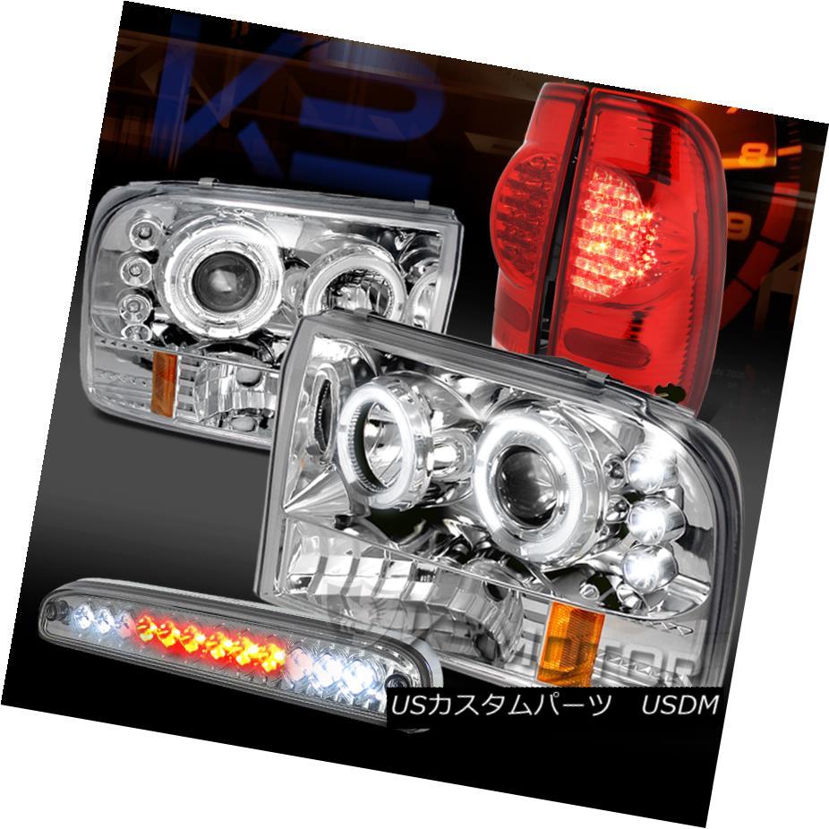 テールライト 99-04 F250 Chrome Halo Projector Headlights+Red LED Tail+Clear 3rd Brake Lamps 99-04 F250クロームハロープロジェクターヘッドライト+レッドLEDテール+クリア第3ブレーキランプ
