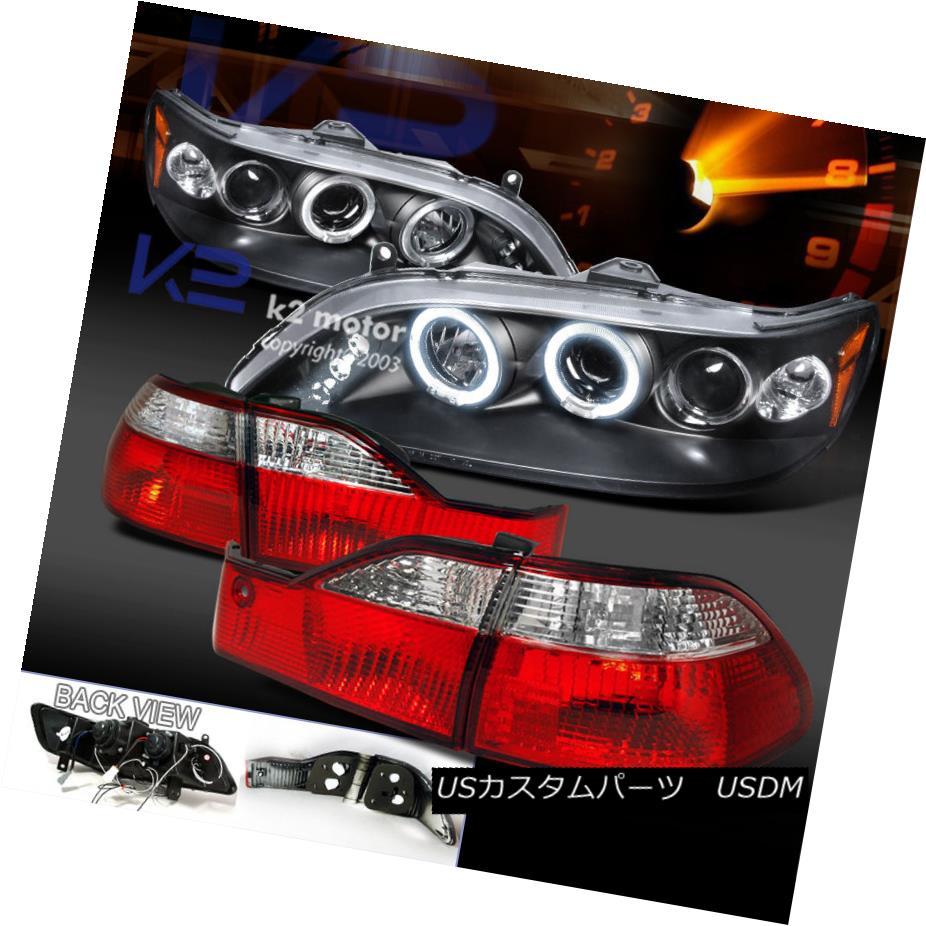 テールライト For 98-00 Accord 4Dr Black Halo LED Projector Headlights+Red/Clear Tail Lamp 98-00 Accord 4Dr Black Halo LEDプロジェクターヘッドライト+レッド /クリアテールランプ