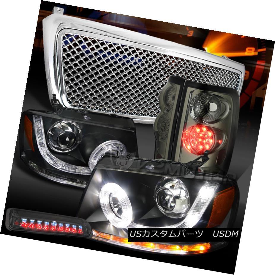 テールライト 04-08 F150 Black SMD DRL Projector Headlight+Tint LED Tail 3rd Lamp+Chrome Grill 04-08 F150ブラックSMD DRLプロジェクターヘッドライト+ティントLEDテール第3ランプ+クロームグリル