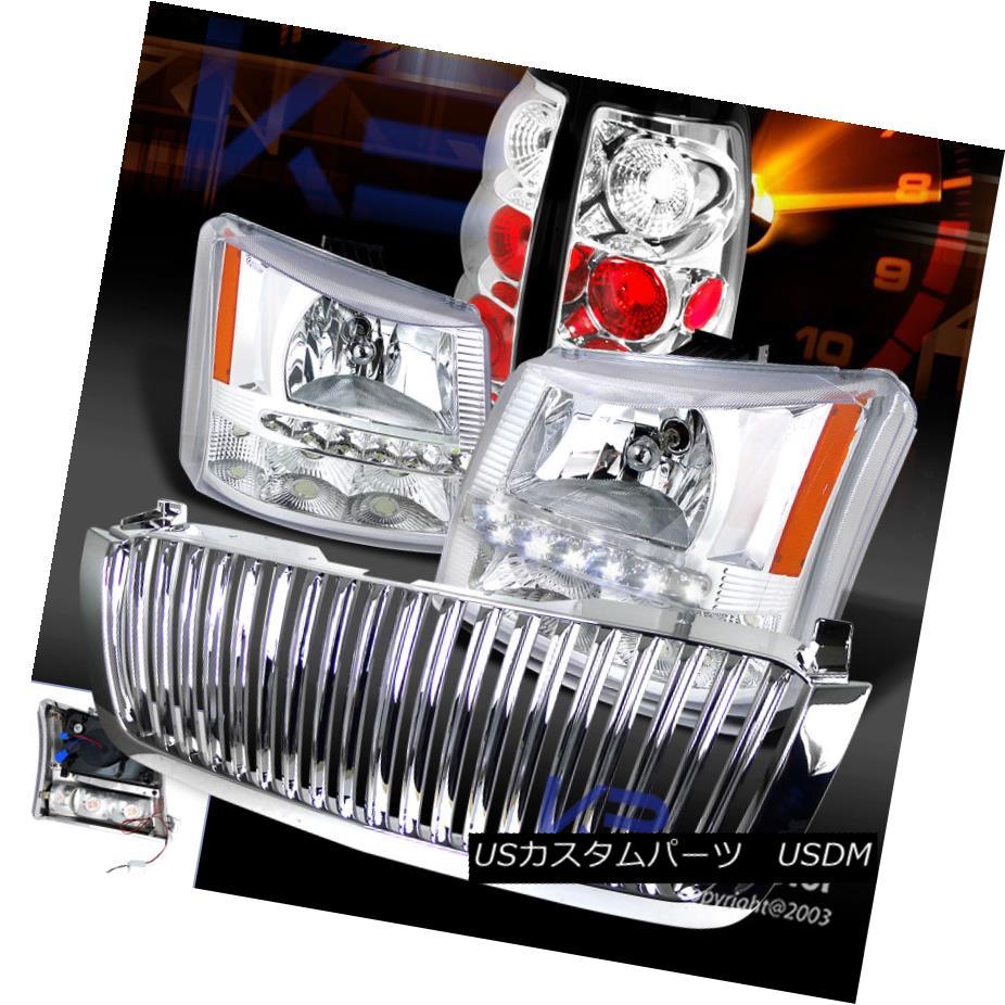 テールライト 03-05 Silverado 1PC Chrome SMD LED Crystal Headlights+Bumper+Grille+Tail Light 03-05 Silverado 1PC Chrome SMD LEDクリスタルヘッドライト+ブール per + Grille + Tai lライト