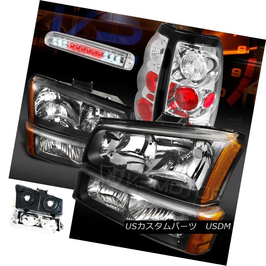 テールライト 03-06 Silverado 1500 Black Headlights Bumper Lamp+Clear Tail Lamps+LED 3rd Brake 03-06 Silverado 1500ブラックヘッドライトバンパーランプ+クリアテールランプ+ LED第3ブレーキ