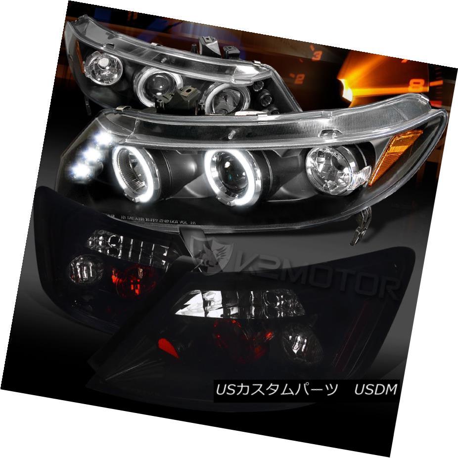 テールライト For 06-11 Civic 2DR Black Halo LED Projector Headlights+Glossy Black Tail Lamps 06-11シビック2DRブラックハローLEDプロジェクターヘッドライト+グロー ssyブラックテールランプ