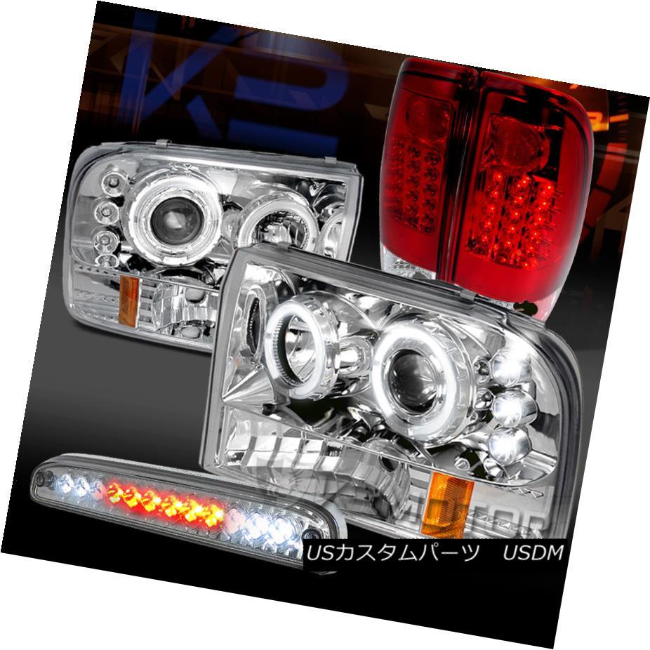 テールライト 99-04 F250 SuperDuty Chrome Projector Headlights+Red/Clear LED Tail 3rd Bake 99-04 F250 SuperDuty Chromeプロジェクターヘッドライト+レッド / Clear LED Tail 3rd Bake