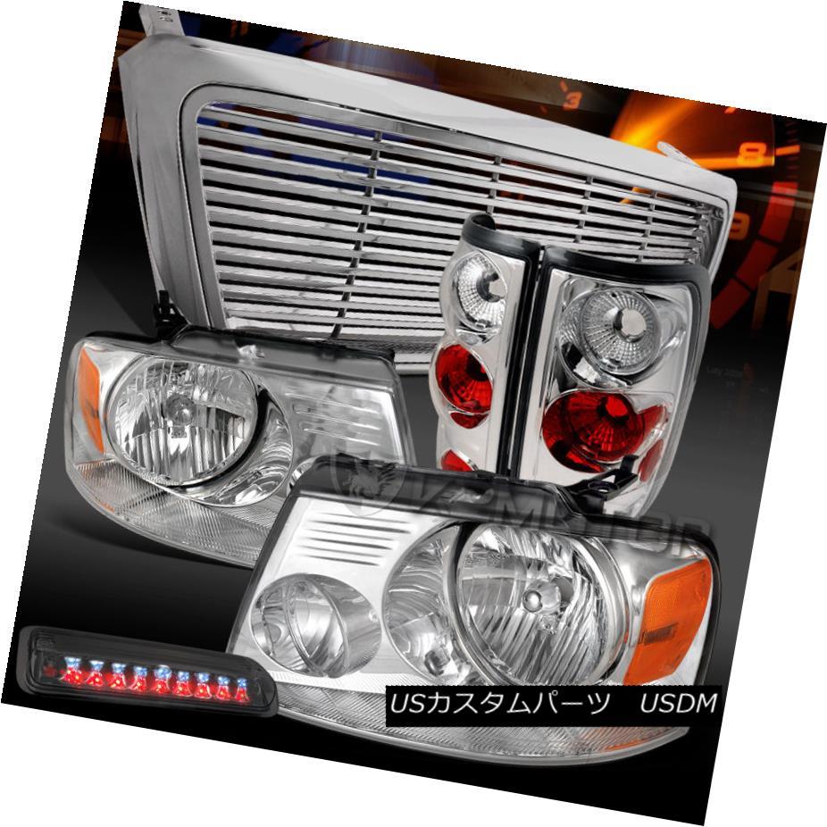 テールライト 04-08 F150 Chrome Headlights+Tail Lamps+Grille+Smoke LED 3rd Brake 04-08 F150クロームヘッドライト+タイ lランプ+グリル+ S moke LED 3rdブレーキ
