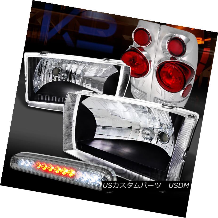 テールライト 99-04 Ford F250/350/450 Black Headlights+3D Tail Lamps+Clear LED 3rd Brake 99-04 Ford F250 / 350/450ブラックヘッドライト+ 3Dテールランプ+ Clear LED 3rdブレーキ