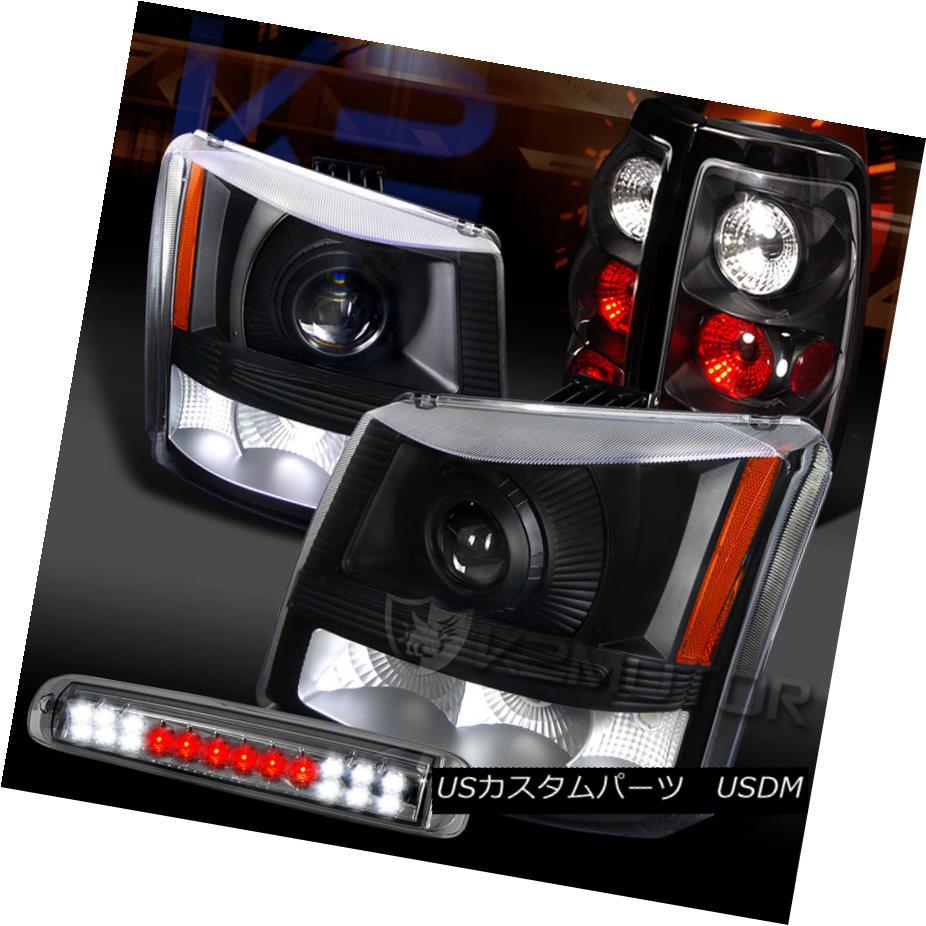 テールライト 03-06 Silverado Black Projector Headlights+Tail Lamps+Smoke LED 3rd Brake Lamp 03-06 Silveradoブラックプロジェクターヘッドライト+タイ lランプ+スモークLED第3ブレーキランプ