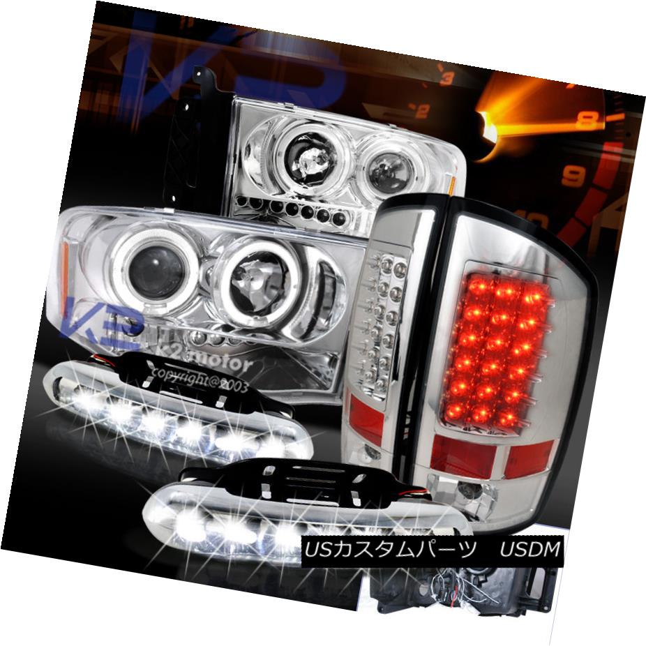 テールライト 2002-2005 DODGE RAM PROJECTOR HEAD LIGHTS+LED BRAKE TAIL LAMPS+LED DRL FOG 2002-2005 DODGE RAMプロジェクターヘッドライト+ LEDブレーキテールランプ+ LED DRL FOG