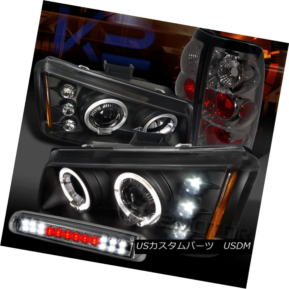 テールライト 03-06 Silverado Black Halo Projector Headlights+Smoke LED 3rd Stop+Tail Lamps 03-06 Silverado Black Haloプロジェクターヘッドライト+ Smo ke LED 3ストップ+テールランプ