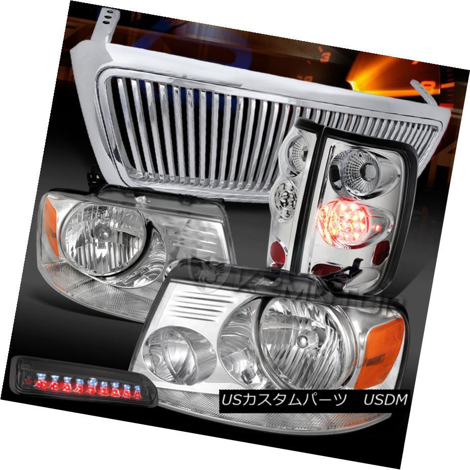 テールライト 04-08 F150 Chrome Headlights+LED Tail Lamps+Smoke 3rd Stop+Vertical Grille 04-08 F150クロームヘッドライト+ LEDテールランプ+スモーク3ストップ+垂直グリル