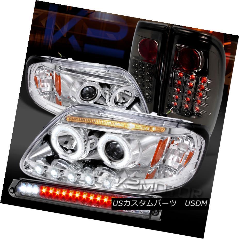 テールライト 97-03 F150 Chrome LED Projector Headlights+Smoke LED Tail Lights+3rd Brake Light 97-03 F150クロームLEDプロジェクターヘッドライト+スモール ke LEDテールライト+第3ブレーキライト