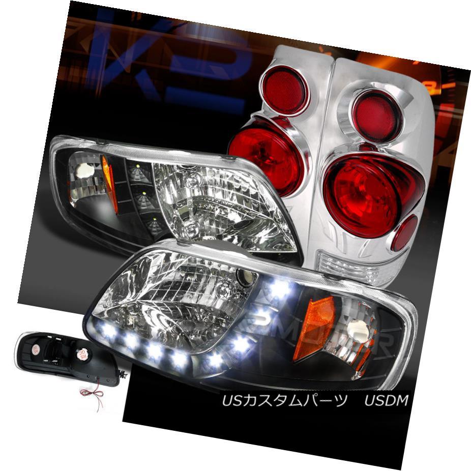 テールライト 97-03 F150 Styleside Black SMD LED DRL Headlights+Chrome 3D Tail Brake Lamps 97-03 F150 Styleside Black SMD LED DRLヘッドライト+ Chr ome 3Dテールブレーキランプ