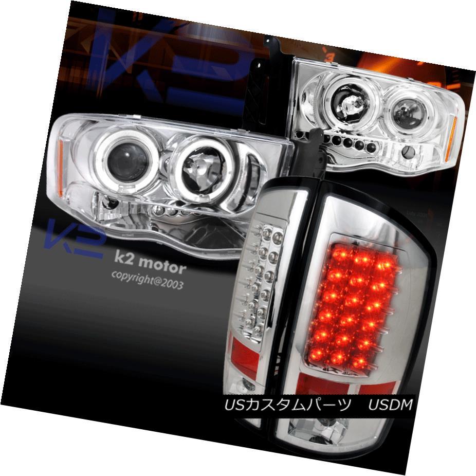 テールライト 02-05 Dodge Ram Projector Headlights Turn Signal Lamps+LED Rear Tail Brake Lamps 02-05 Dodge Ramプロジェクターヘッドライトターンシグナルランプ+ LEDリアテールブレーキランプ