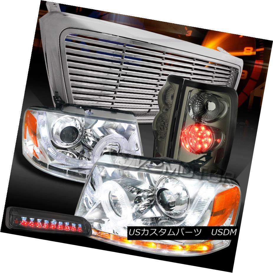 テールライト 04-08 F150 Chrome SMD Projector Headlights+Grille+Smoke LED Tail 3rd Brake Lamps 04-08 F150 Chrome SMDプロジェクターヘッドライト+グリル lle +スモークLEDテール第3ブレーキランプ