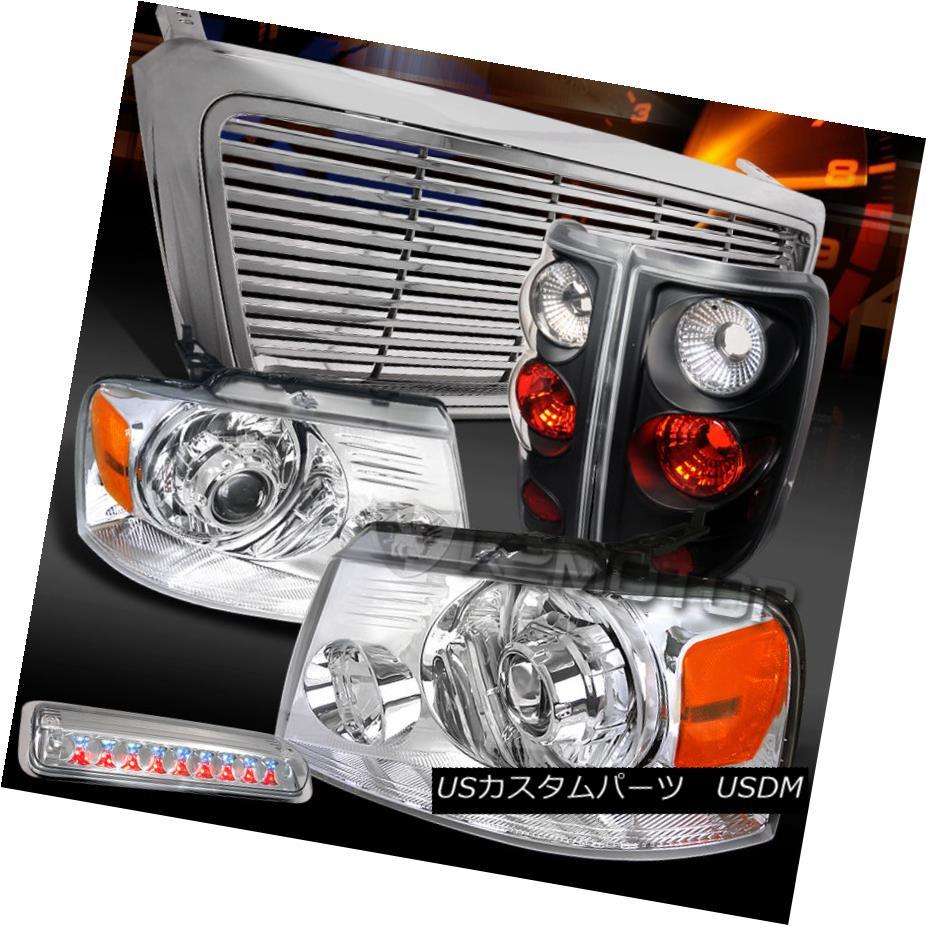 テールライト 04-08 F150 Chrome Projector Headlights+Grille+LED 3rd Brake+Black Tail Lamps 04-08 F150クロームプロジェクターヘッドライト+グリル lle + LED第3ブレーキ+ブラックテールランプ