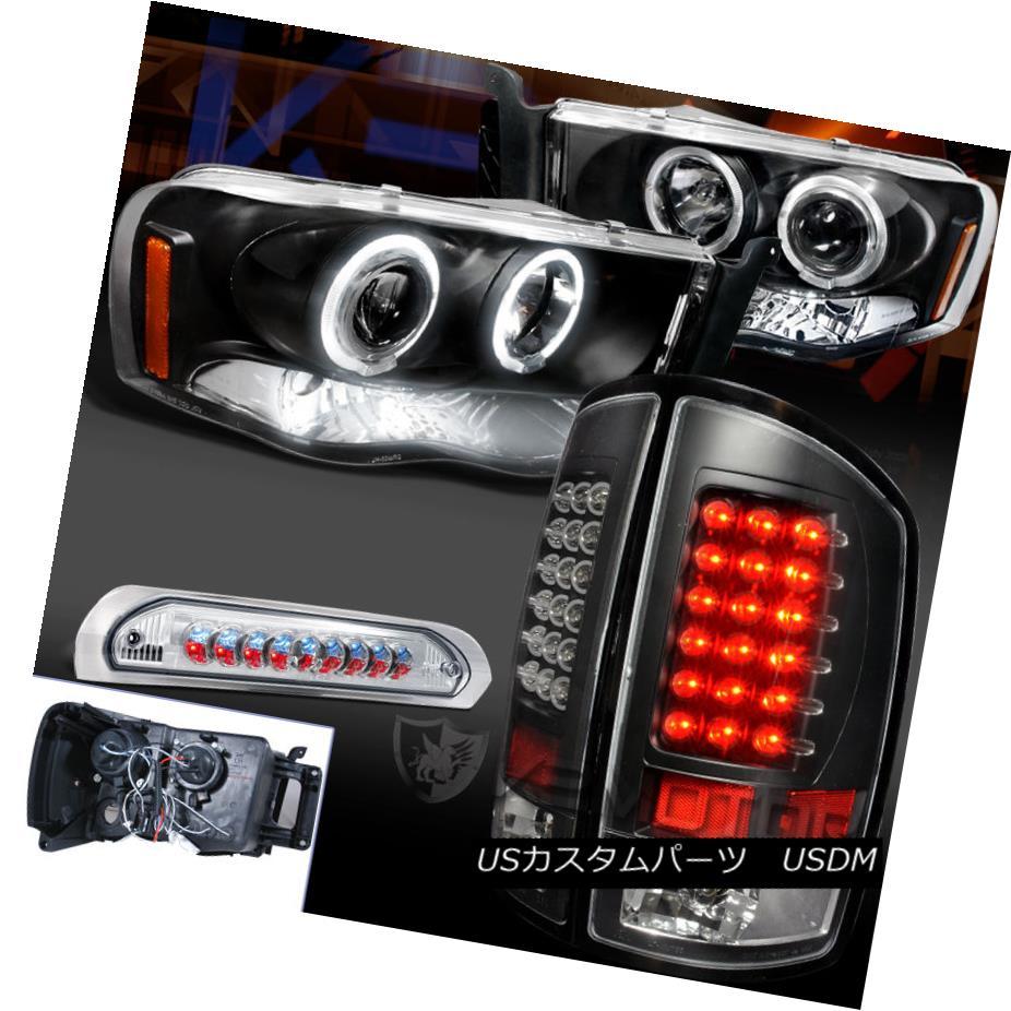 テールライト 02-05 Ram1500 Black Halo Projector LED Headlight+Tail Lamp+Clear 3rd Brake Light 02-05 Ram1500ブラックハロープロジェクターLEDヘッドライト+テールランプ+クリア第3ブレーキライト