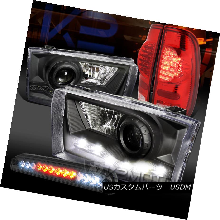 テールライト 99-04 F250 SD Black SMD DRL Projector Headlight+Red Tail Lamp+Tint LED 3rd Brake 99-04 F250 SDブラックSMD DRLプロジェクターヘッドライト+レッドテールランプ+ティントLED第3ブレーキ