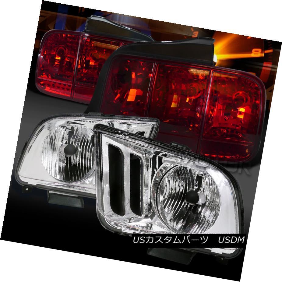 テールライト 05-09 Mustang Chrome Clear Headlights+Red Sequential Turn Signal Tail Lights 05-09ムスタングクロームクリアヘッドライト+赤の連続ターンシグナルテールライト