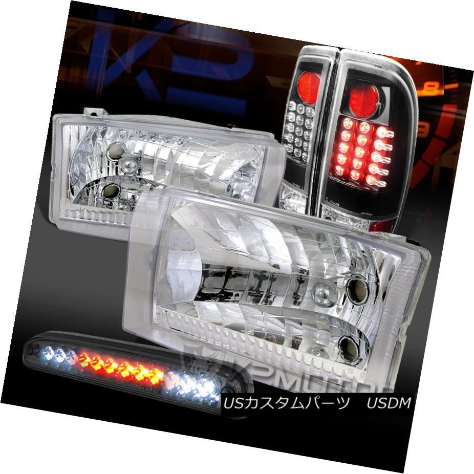 テールライト 99-04 F250 SuperDuty Chrome Headlights+Smoke LED 3rd Brake+Black LED Tail Lamps 99-04 F250 SuperDuty Chromeヘッドライト+スモーキー ke LED第3ブレーキ+ブラックLEDテールランプ