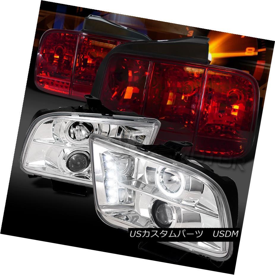 テールライト 05-09 Mustang Chrome Halo Projector Headlights+Red Sequential Signal Tail Lamps 05-09 Mustang Chrome Haloプロジェクターヘッドライト+赤色連続信号テールランプ