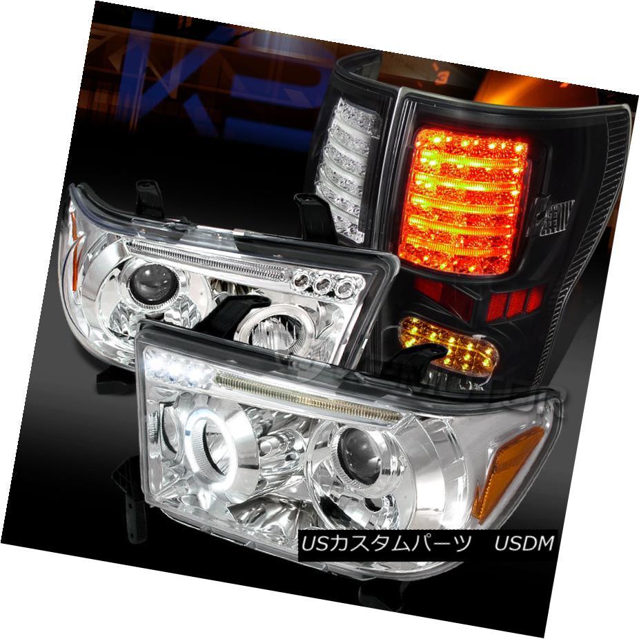 テールライト 07-13 Tundra Chrome LED Halo Projector Headlights+Black LED Tail Lamps 07-13トンドラクロームLEDハロープロジェクターヘッドライト+ Bla ck LEDテールランプ