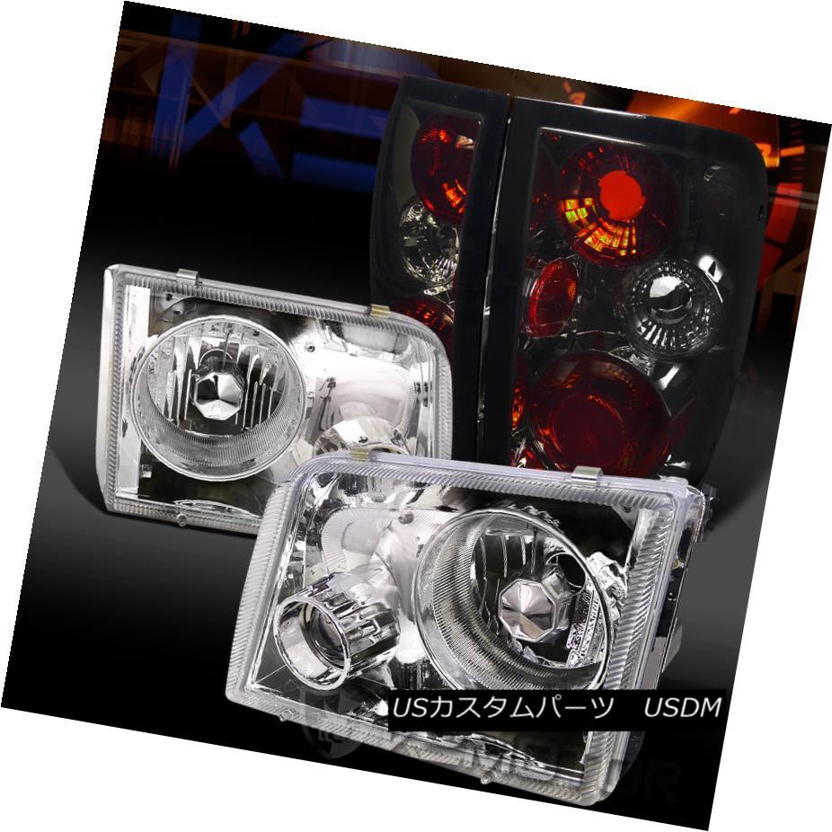 テールライト 93-97 Ford Ranger Chrome Clear Projector Headlights+Smoke Tail Brake Lamps 93-97フォードレンジャークロームクリアプロジェクターヘッドライト+スモーク keテールブレーキランプ
